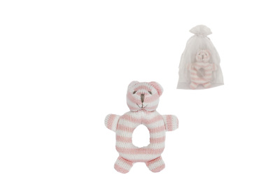 Pink Striped Knitted Bear Rattle in Sheer Organza Bag #37361