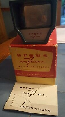 Vtg Argus PreViewer for Color Slides with Original Box and Instructions 1950's