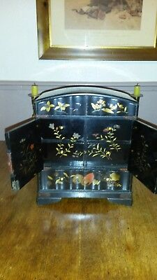 Lovely Antique Japanese Lacquered Jewelry Box Cabinet C 1900