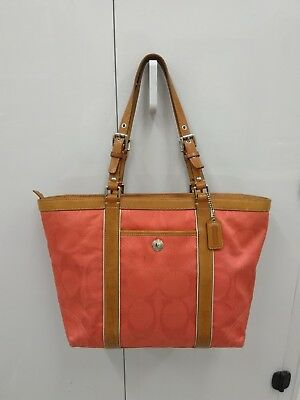 3b6ac39baee Coach Coral Signature Jacquard Fabric East West Gallery Tote Bag Gand Bag  Purse