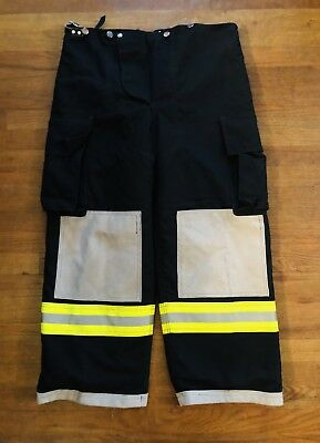 Turnout Gear Fire Fighter EMS Bunker Padded Pants Black & Yellow w Liner  38x27