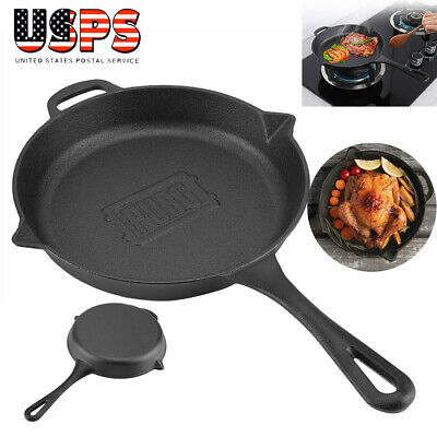 "Cast Iron Skillet 10.6"" Oven Fry Pan Pot Cookware Pre-seasoned Cast Iron Skillet"
