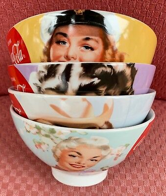 4 Coca Cola Bowls, Drink Coca-Cola in Bottles, Retro photos of Girls, 4 Designs