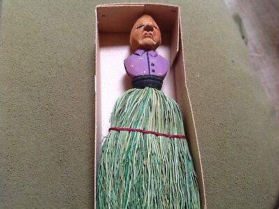 HTF Antique ANRI wisk broom new old stock purple lady