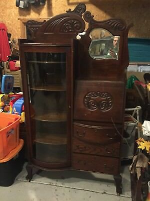 Antique 1890s (?) Side by Side Secretary Bookcase, Curved Glass, Beveled Mirror