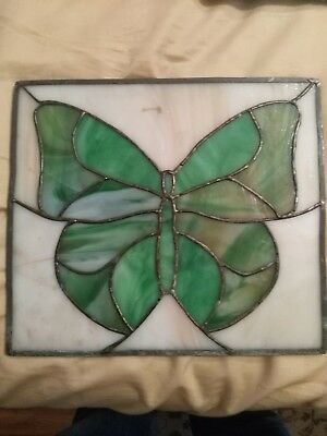 "Antique LEADED STAINED Slag GLASS WINDOW Beautiful Butterfly 12""x 11"""
