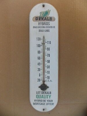 Vintage Dekalb Hybrids wooden advertising thermometer old antique  WORKS!  seed