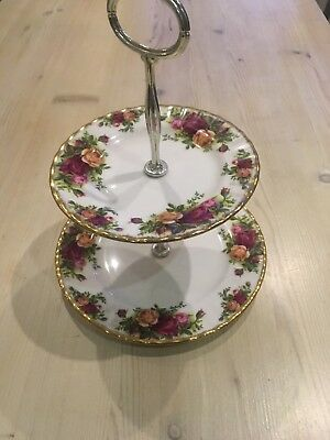 Old Country Roses Royal Albert 2 Tier Cake Stand, Excellent Condition