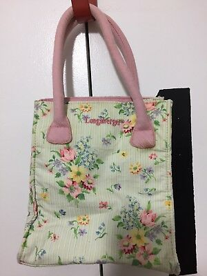 Longaberger Small Pink Floral Tote Bag Purse