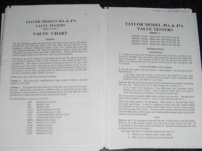 Taylor Valve Tester 45A/47A Copy Of Instructions And Valve Charts