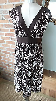 Vintage Pure Zone Brown & White Maternity Dress Size M