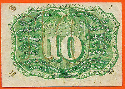 Fr 1289 Ten Cent Second Issue Fractional Scarce Surcharges T-18-63 Fiber Paper