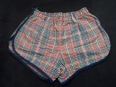 Vintage Janzten Mens Swim Trunks Short Bathing Suit Sz 32 Plaid Seersucker