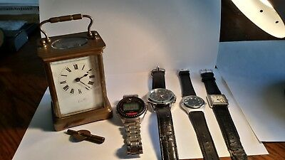 French Brass Carriage Clock And 4 Electronic Watches