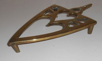Vintage Brass Iron Shaped Trivet Heart Shaped Cut Outs                       St