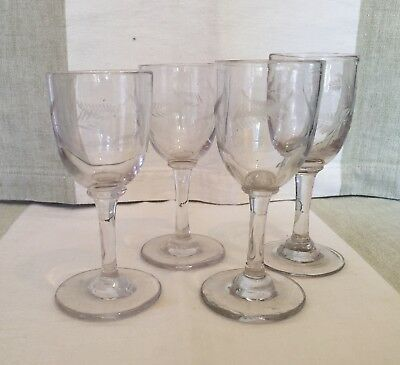 Antique Victorian Sherry/Port/Cordial Glasses Wheel Cut Fern pattern c1870