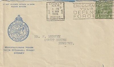 1936 Australia cover from The Public Service Association NSW Sydney to Newtown
