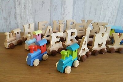 Personalised wooden name train : Use wooden train letters to spell name