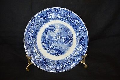 """Blue & White 10"""" Dinner plate w Display Stand English Countryside ADAMS England"""