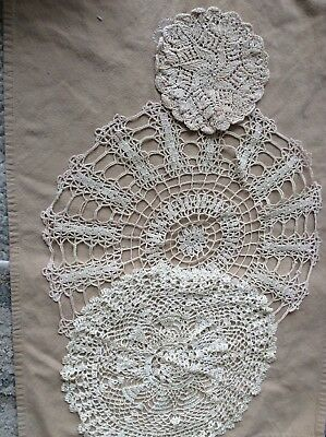 Lot Of 3 Hand Crochet Round Doilies