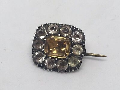 Antique Georgian Citrine And Diamond Paste Set Lace Pin Brooch