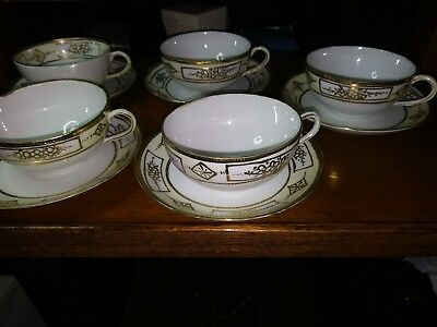 "Antique Nippon Noritake Raised Gold Encrusted 5 piece Cup & Saucer - ""M"""