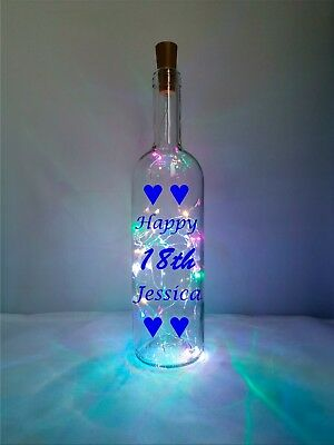 Happy 18th Gift. Light up wine bottle with personalised happy birthday message