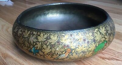 "Antique Kashmir Lacquer Brass SIGNED  10.75"" bowl from India"