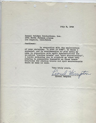 1948 Lionel Hampton jazz contract signed autograph MGM rare radio big band