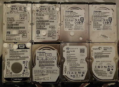 """Lot of 8 2.5"""" 500-640GB laptop mobile drives tested and wiped WD Seagate Toshiba"""