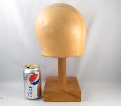 Vintage Wooden Hat Mold Block Millinery Form W/ Stand Size 22
