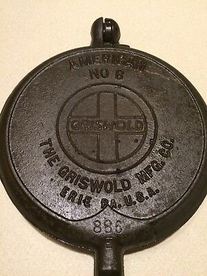 Rare Vintage Griswold Puritan #8 Cast Iron Waffle Maker With No Base