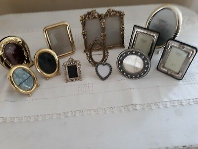 Lot Of 12 Vintage to New Picture Frames Silver Plated, Solid Brass & Metal