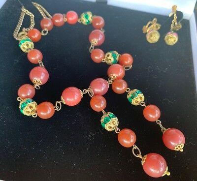 Vintage 1940s Brass Glass Green Pink Diamanté Necklace & Matching Screw Earrings
