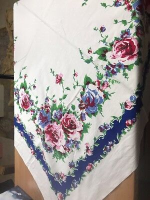 Vintage BLUE PINK RED ROSES on white 53 x 50 BORDER PRINT TABLECLOTH - BRIGHT
