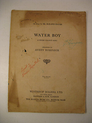 "1922 Sheet Music ""Water Boy"" A Negro Convict Song Roland Hayes, singer"