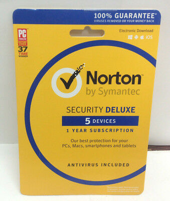 Norton Security Deluxe 5 Devices - PC/MAC/Android/iOS 2019 [Key Card] US STOCK!