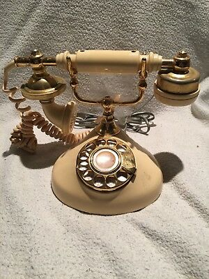 Vintage Automatic Electric GTE Yellow / Ivory Rotary Dial Telephone Phone Japan