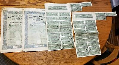 Four Sheets of 1913 Pre-WWI Hamburg, Germany Government Bonds