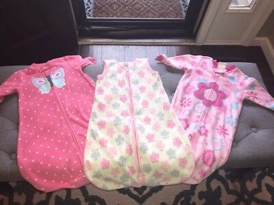 Baby Girl PINK 🌸  FLEECE Sleep Sack LOT Small 0-6 Months