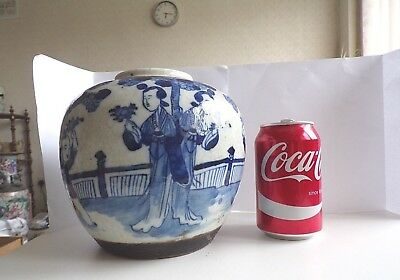 Large Antique Chinese Crackle Glaze Ginger Jar,blue And White Decorated.