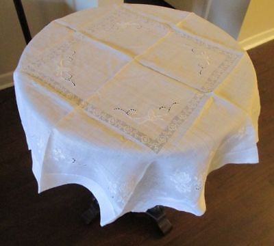 Vintage Decorative Luncheon Bridge Wedding Tablecloth Rice Linen