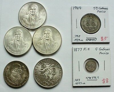 Mexican Silver Coin Lot: Mixed Lot of Mexican Silver Coins