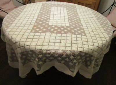Vintage Ivory Darned Net Lace Tablecloth 54x68
