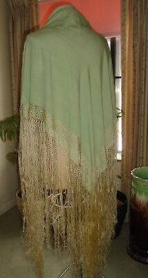 "ANTIQUE VINTAGE 1920's PALE GREEN SILK PIANO SHAWL 45"" + 21"" HAND KNOTTED FRINGE"