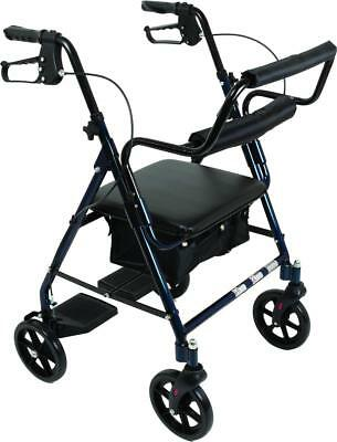 Transport Rollator wheelchair with Padded Seat and Basket, Blue, NEW