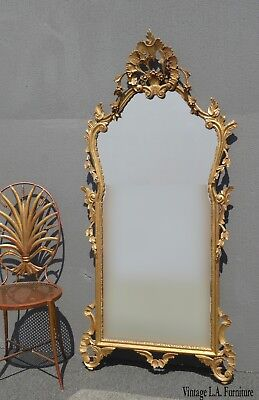 Antique French Louis XVI Rococo Ornate Gold Wall Mantle Mirror Made in Italy