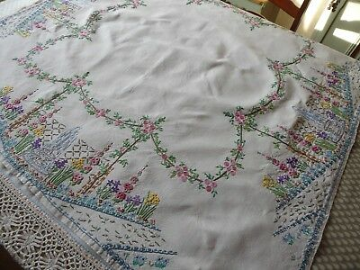 Vintage Hand Embroidered Linen Tablecloth/exquisite Flower / Raised Embroidery