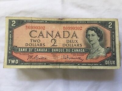 Lot Of 150 Bank Of Canada $2 Two Dollar Notes Ottawa 1954 Canadian Banque Deux 2
