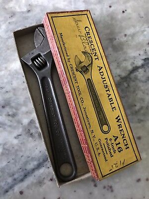 Vintage Crescent Tool Co. Adjustsble Wrench A-16 (MIB) Box/tool Excellent